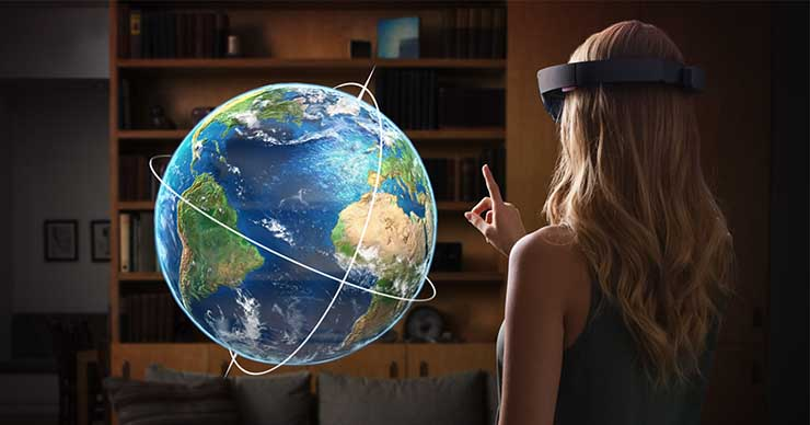 HoloLens users view of 3D globe in real room