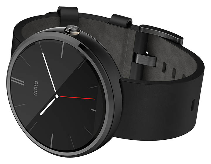 Motorola metal Moto 360 smartwatch measures pulse, has Google Voice, shows notifications and can play back music on a Bluetooth headset