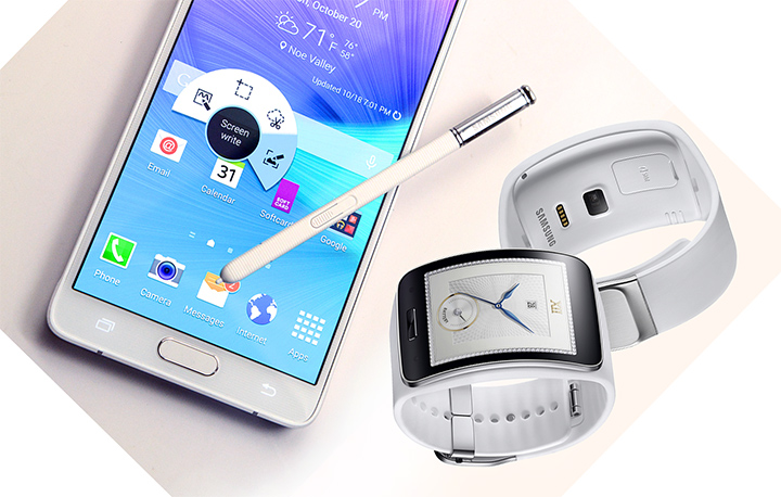 Samsung Galaxy Note 4 and Gear S smart watch with 3G wireless data capability