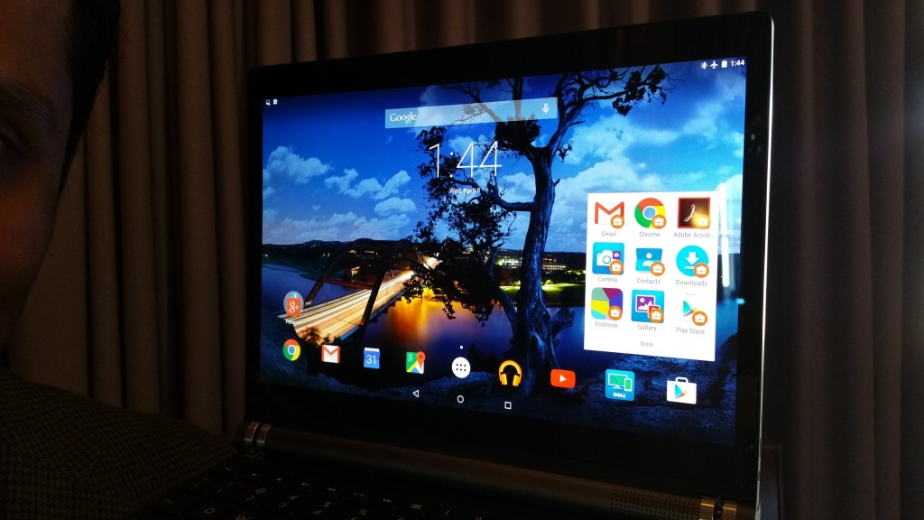 Dell Venue 10 7000 desktop displays both secure work apps, top right and home apps on the rest of the Android desktop.