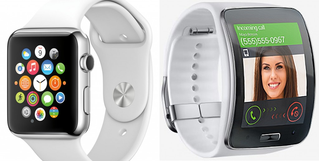 "The Apple Watch, left depends on the iPhone work properly but Samsung's plans for a stand alone watch will elevate its current Gear S, right, to a unique ""watch phone"" genre"