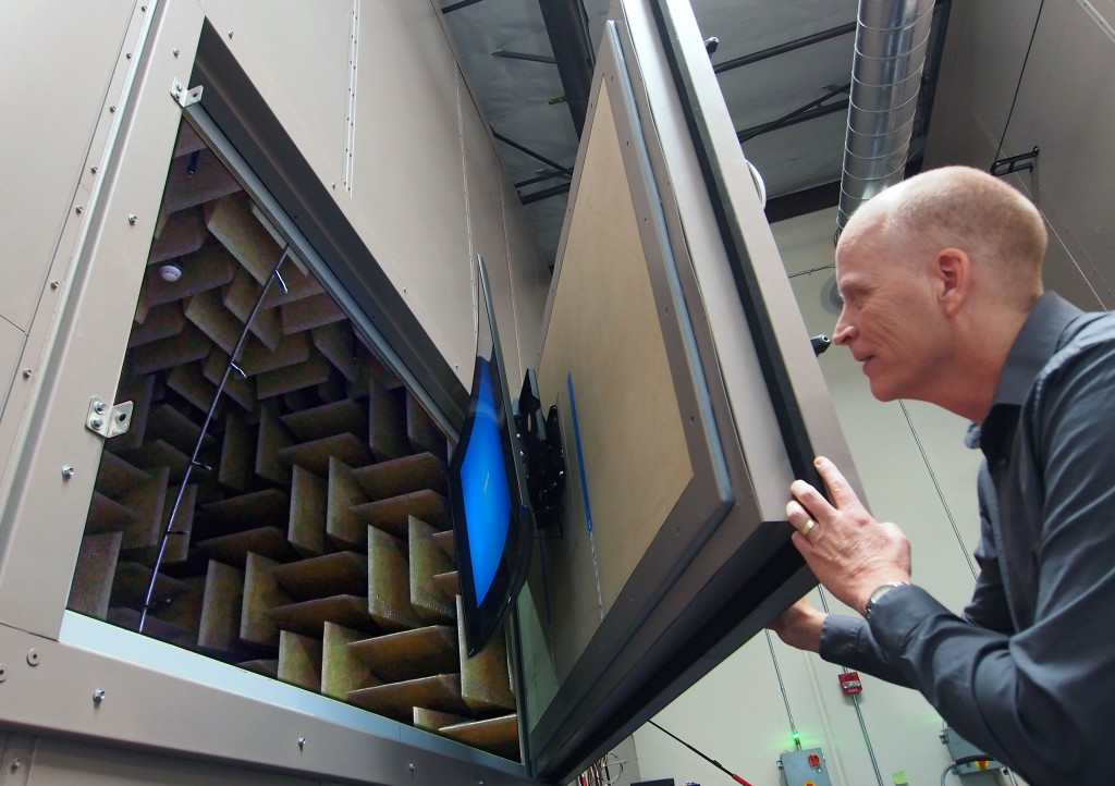 Canadian expat Allan Devantier and Director of the Samsung Audio Lab in the US checks out a Samsung TV for sound testing in the anechoic chanber made of one-meter long sound absorbing cones.