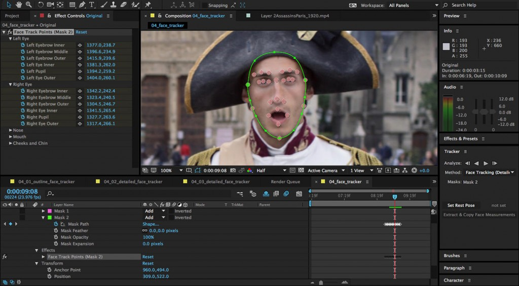 Face tracker for Adobe 2015 After Effects is a time saver