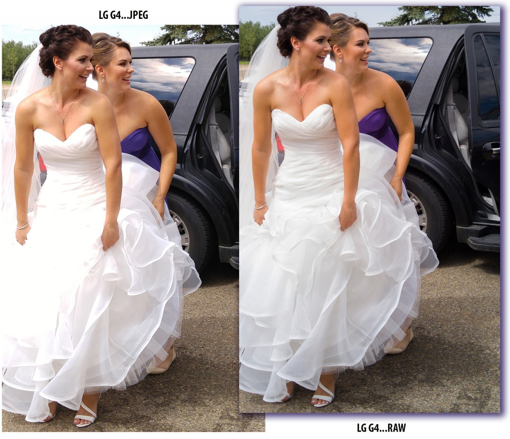 LG G4 RAW mode rigt captured every white bridal detail of Jaclyn Maat's (formally Bedard and helped by Kaila Maat) compared to the JPEG format left