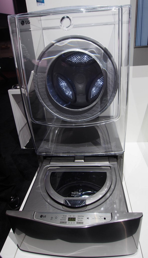 LG TwinWash features two simultaneous washers for different loads