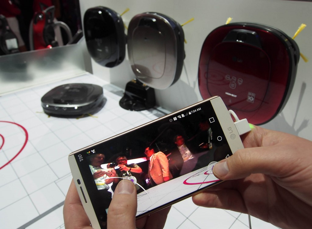 The LG Hombot robotic vacuum cleaner features remote phone control and a live floor cam view
