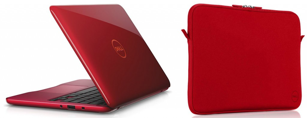 The Dell Inspiron 11 3000 series looks timely in Tango Red as does the Dell neoprene sleeve for 15 - inch laptops