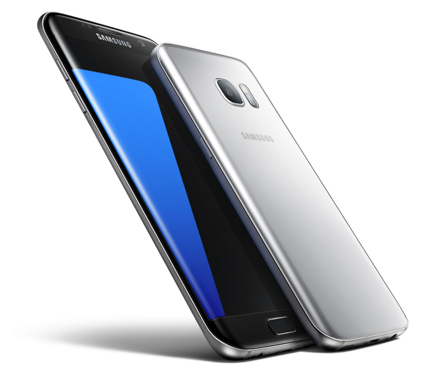 Samsung Galaxy 5.5 -inch dual curved S7 edge left and 5.1-inch S7 right
