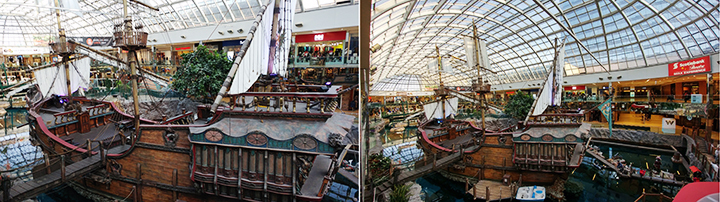 Comparison between the LG G5 dual rear combo lens normal view at West Edmonton Mall and the super wide, right. Impressive?