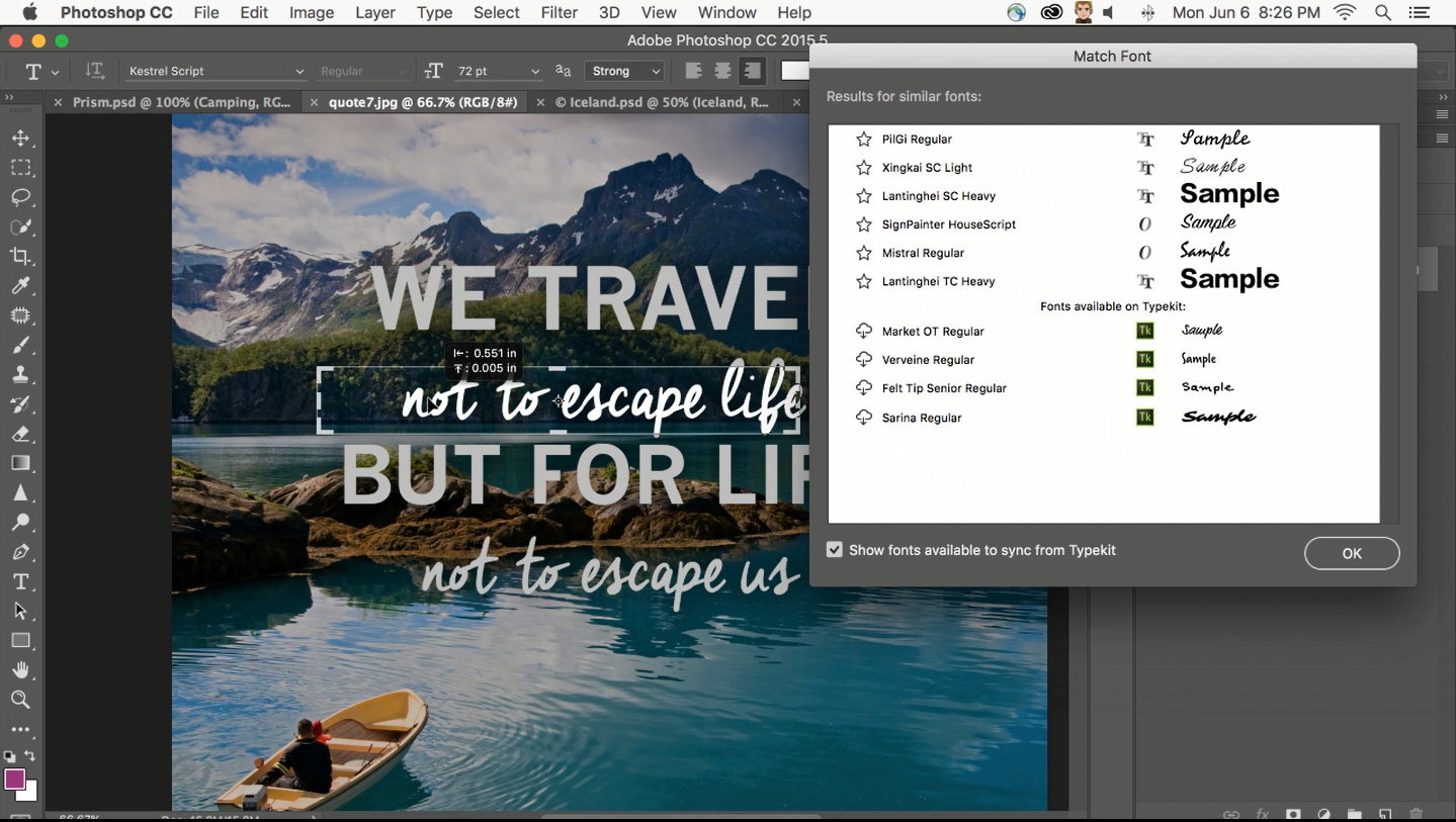 Photoshop Matching Font saves time and money