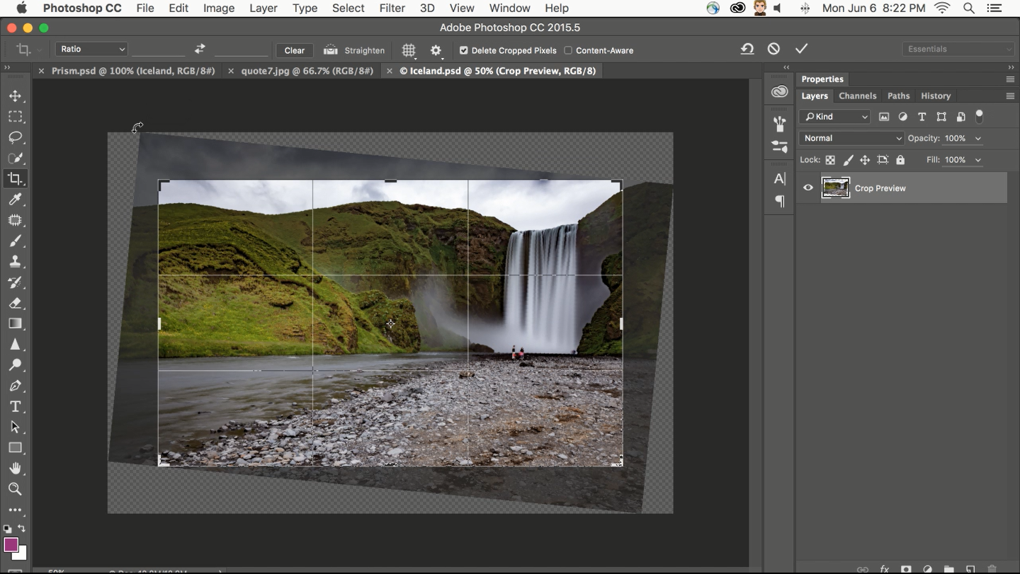 Photoshop_Content Aware Cropping saves time as levelling a tilted image wastes minimum space