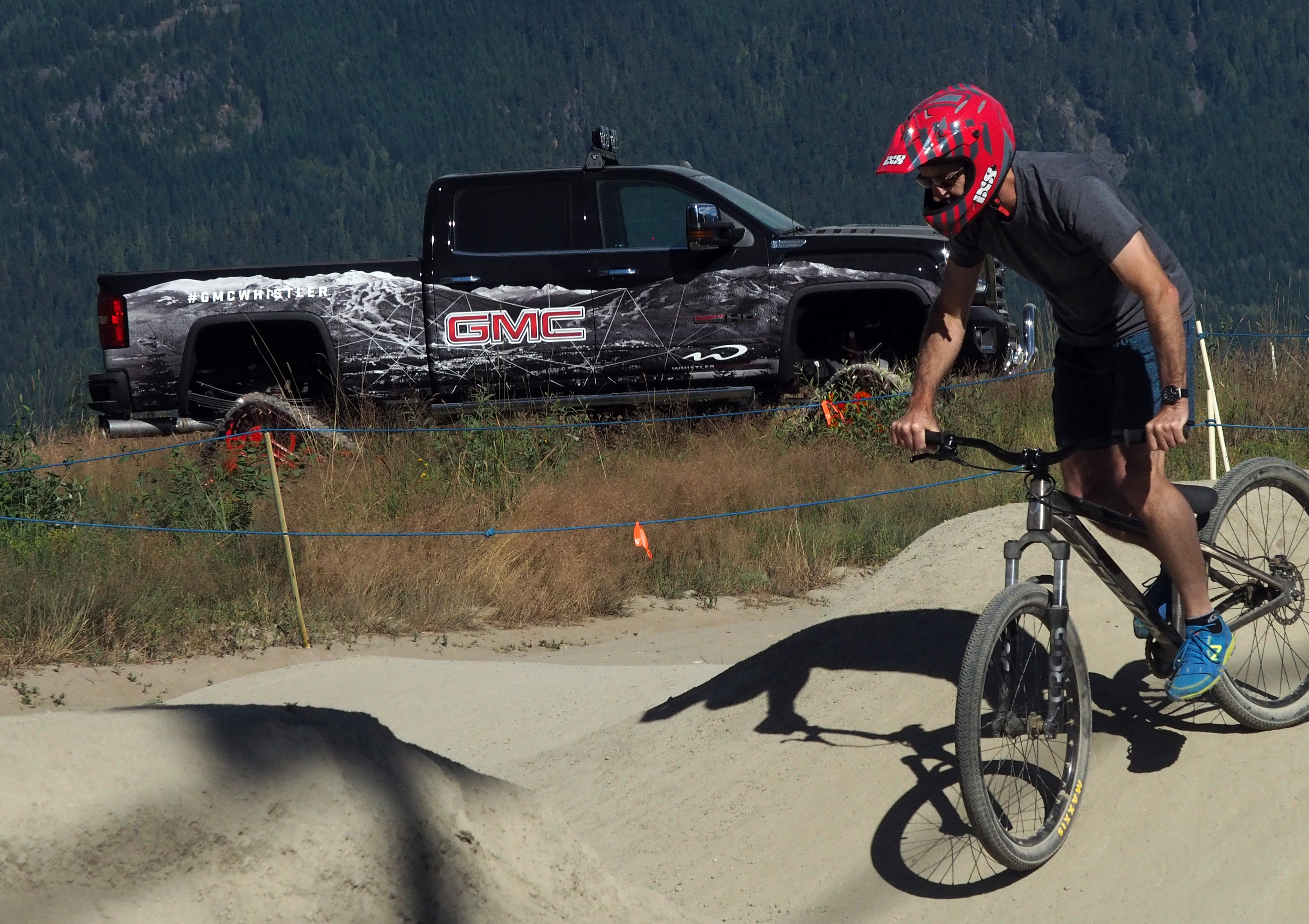 There were fun excursions at this event, like trying out the GMC Pump Bike Track. In the the GMC Sierra All Mountain edition, built by 360 Fabrication Inc., outfitted with Mattracks, big sound audio, ski /snowboard rack and fog lights, goes anywhere.